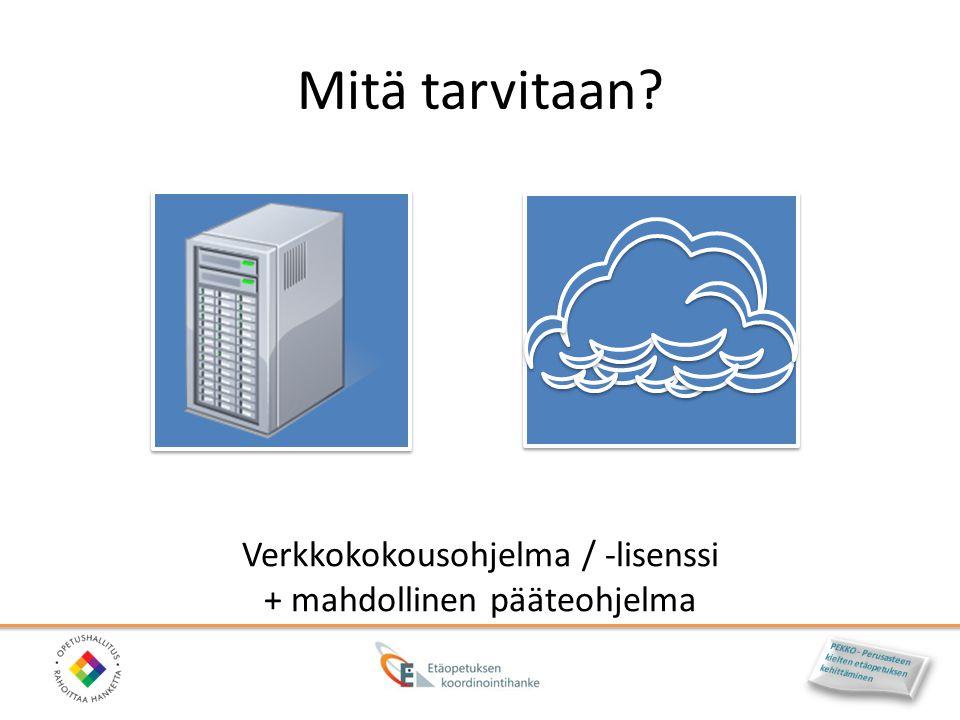 Mitä tarvitaan Verkkokokousohjelma / -lisenssi