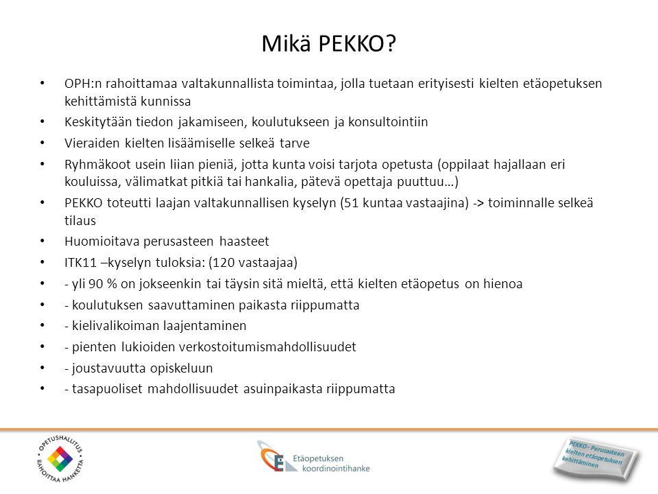 Mikä PEKKO OPH:n rahoittamaa valtakunnallista toimintaa, jolla tuetaan erityisesti kielten etäopetuksen kehittämistä kunnissa.