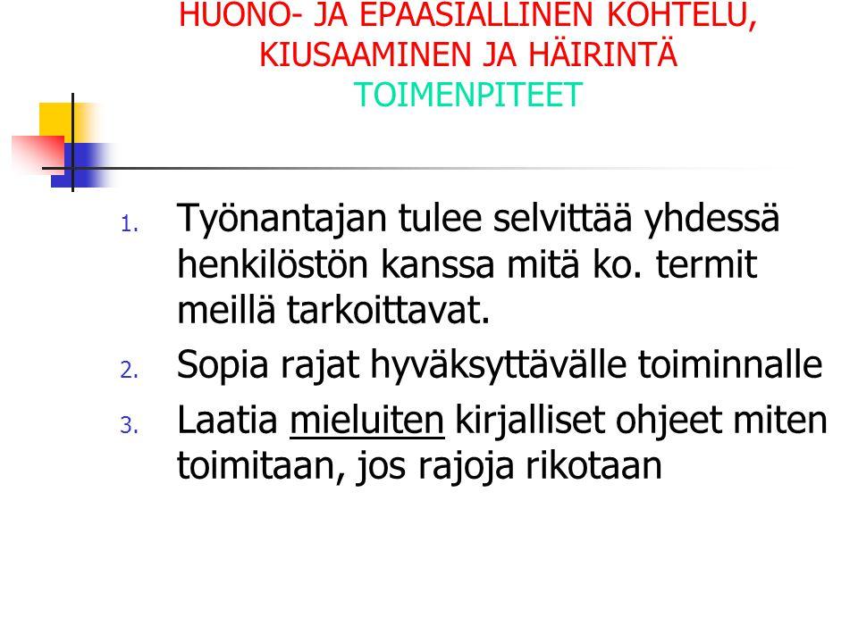 HUONO- JA EPÄASIALLINEN KOHTELU, KIUSAAMINEN JA HÄIRINTÄ TOIMENPITEET