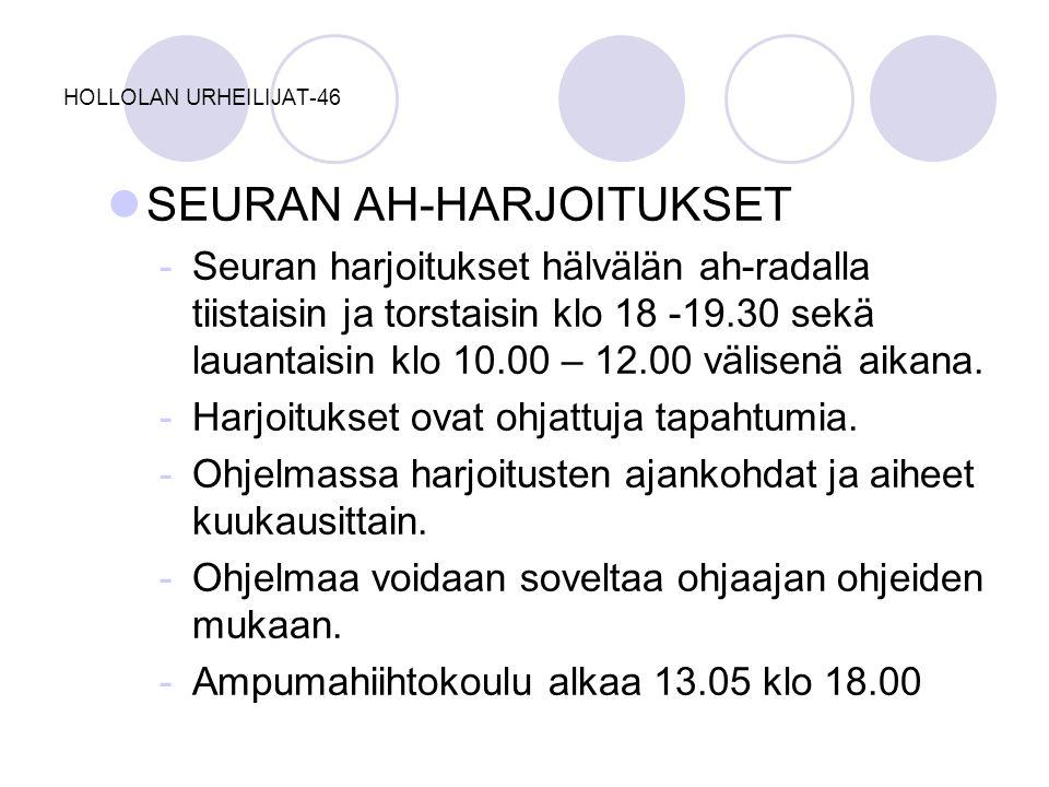 SEURAN AH-HARJOITUKSET