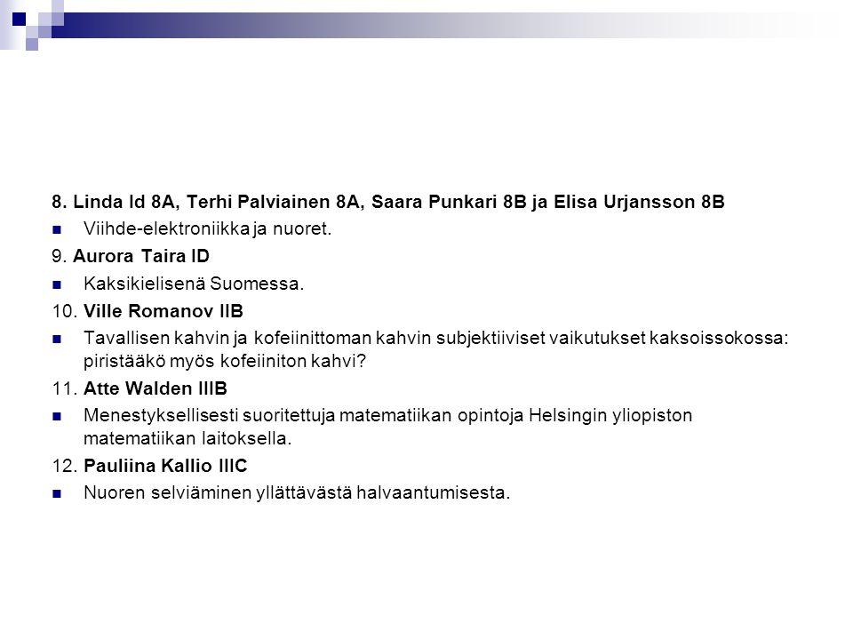 8. Linda Id 8A, Terhi Palviainen 8A, Saara Punkari 8B ja Elisa Urjansson 8B
