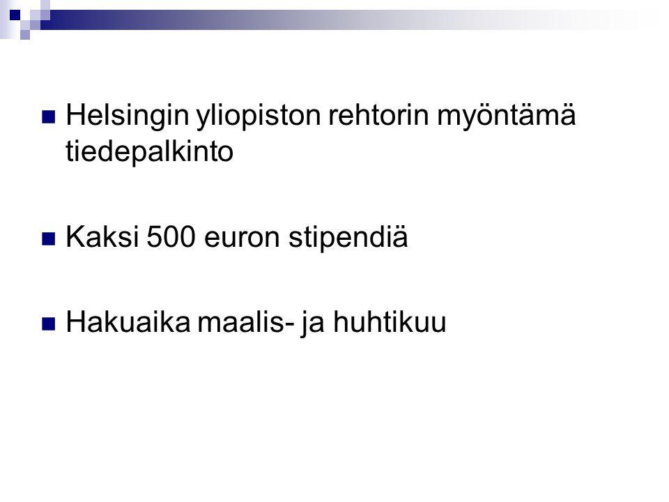 Helsingin yliopiston rehtorin myöntämä tiedepalkinto