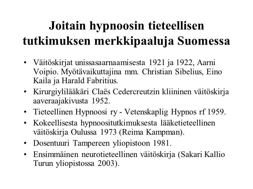 Joitain hypnoosin tieteellisen tutkimuksen merkkipaaluja Suomessa