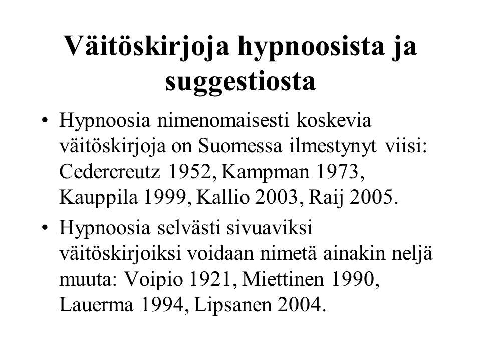 Väitöskirjoja hypnoosista ja suggestiosta
