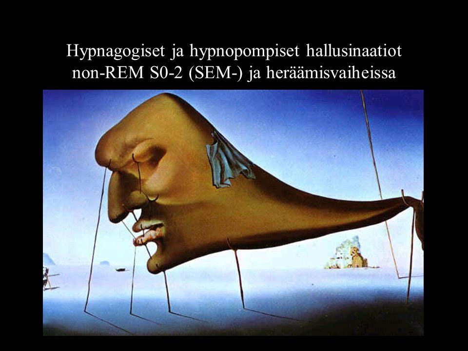 Hypnagogiset ja hypnopompiset hallusinaatiot non-REM S0-2 (SEM-) ja heräämisvaiheissa