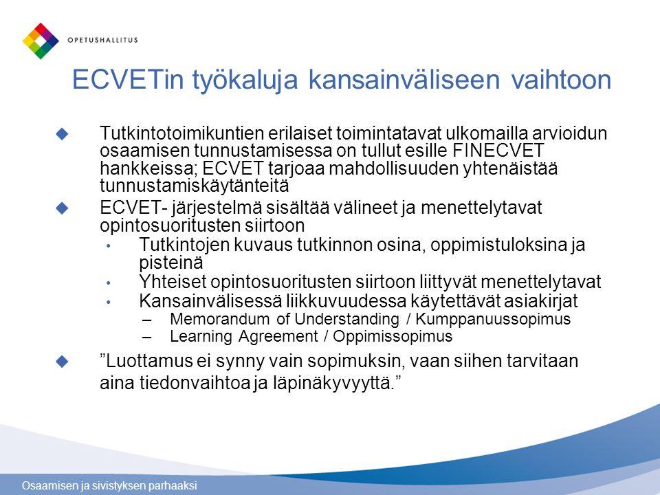 ECVETin työkaluja kansainväliseen vaihtoon