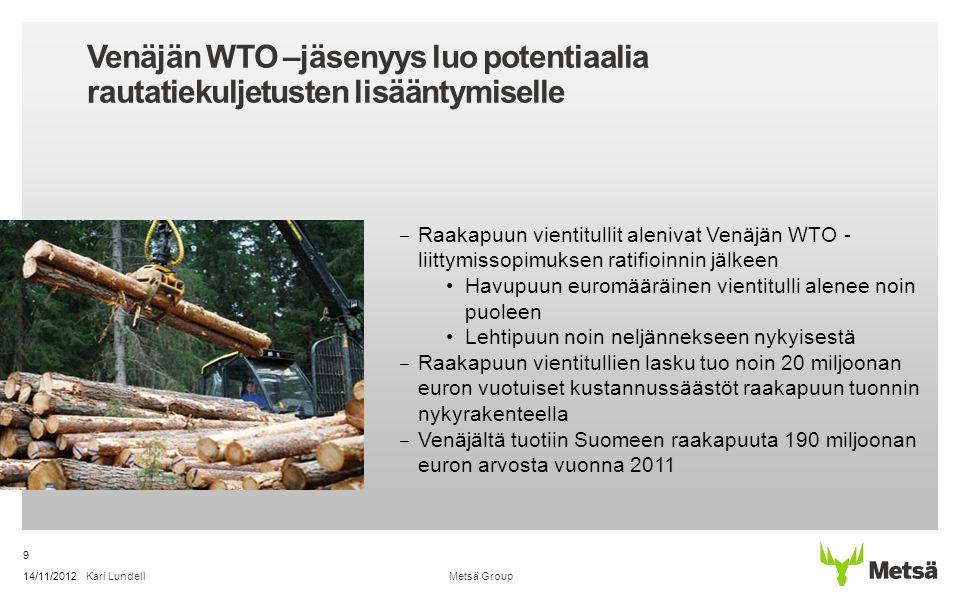 Venäjän WTO –jäsenyys luo potentiaalia rautatiekuljetusten lisääntymiselle