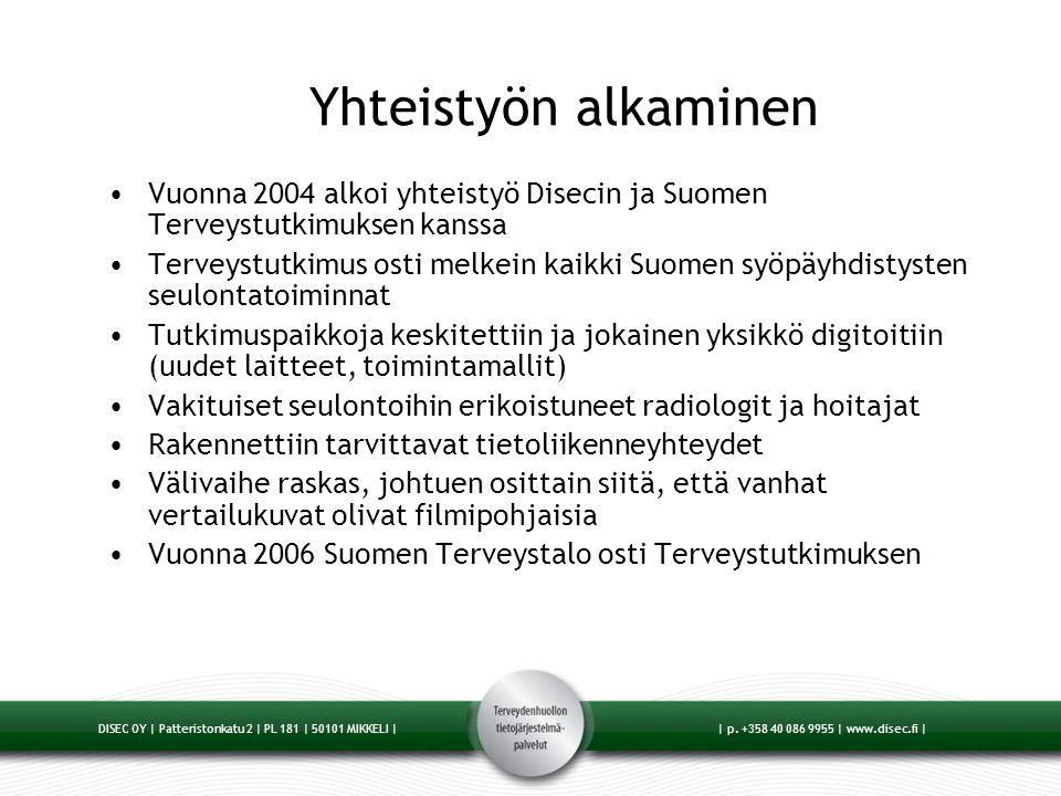 Yhteistyön alkaminen Vuonna 2004 alkoi yhteistyö Disecin ja Suomen Terveystutkimuksen kanssa.