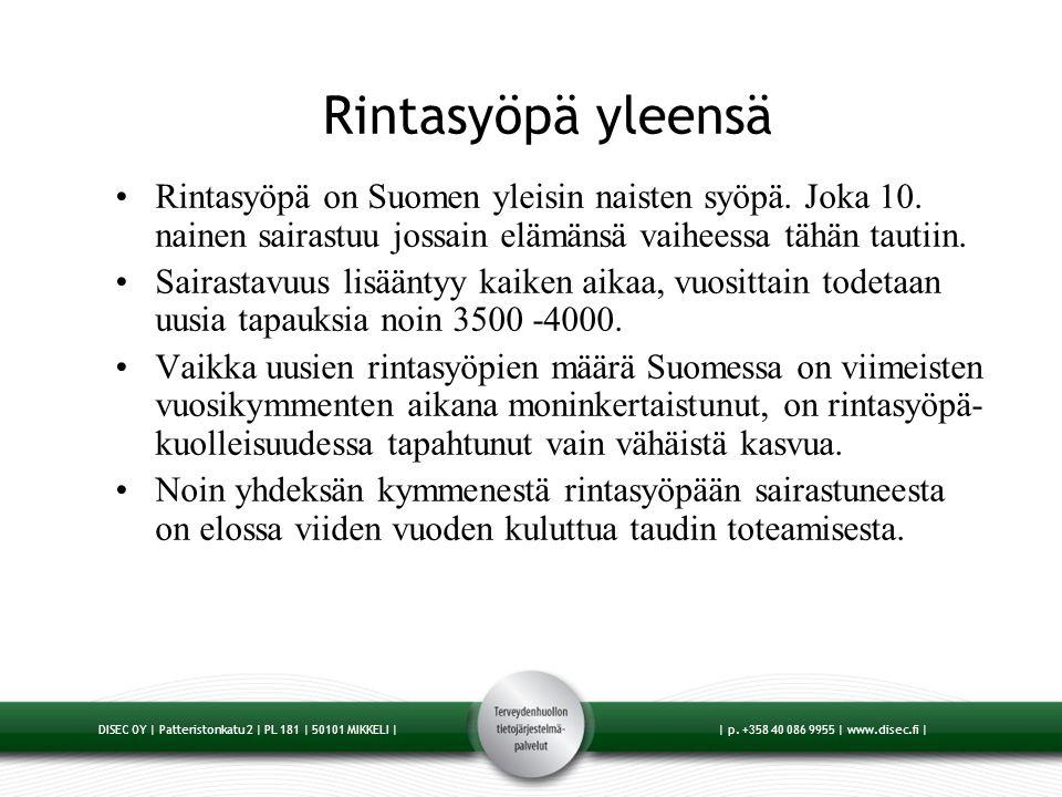 Rintasyöpä yleensä Rintasyöpä on Suomen yleisin naisten syöpä. Joka 10. nainen sairastuu jossain elämänsä vaiheessa tähän tautiin.
