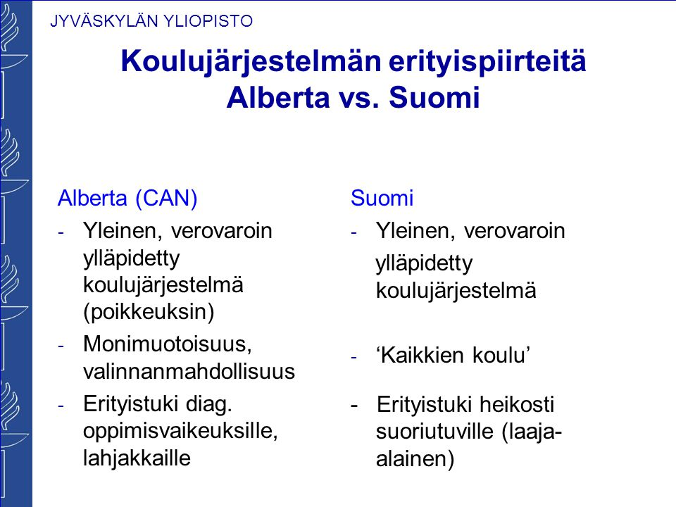 Koulujärjestelmän erityispiirteitä Alberta vs. Suomi