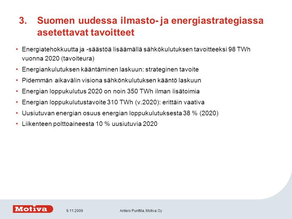 Suomen uudessa ilmasto- ja energiastrategiassa asetettavat tavoitteet