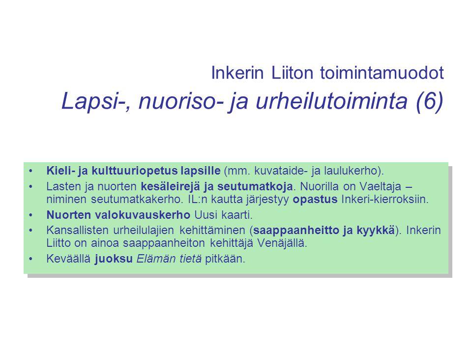 Inkerin Liiton toimintamuodot Lapsi-, nuoriso- ja urheilutoiminta (6)