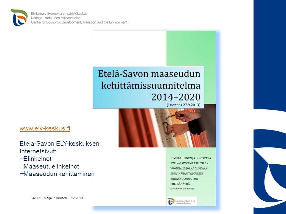 Etelä-Savon ELY-keskuksen Internetsivut: Elinkeinot Maaseutuelinkeinot