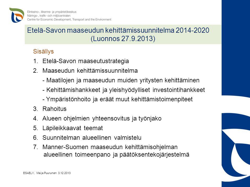 Etelä-Savon maaseudun kehittämissuunnitelma 2014-2020