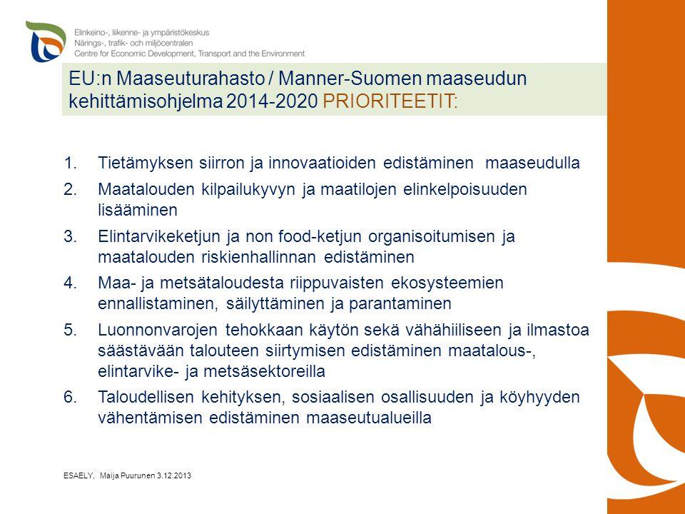 EU:n Maaseuturahasto / Manner-Suomen maaseudun kehittämisohjelma 2014-2020 PRIORITEETIT: