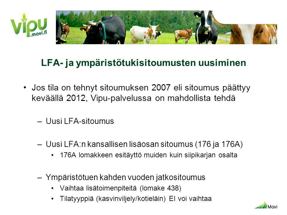LFA- ja ympäristötukisitoumusten uusiminen