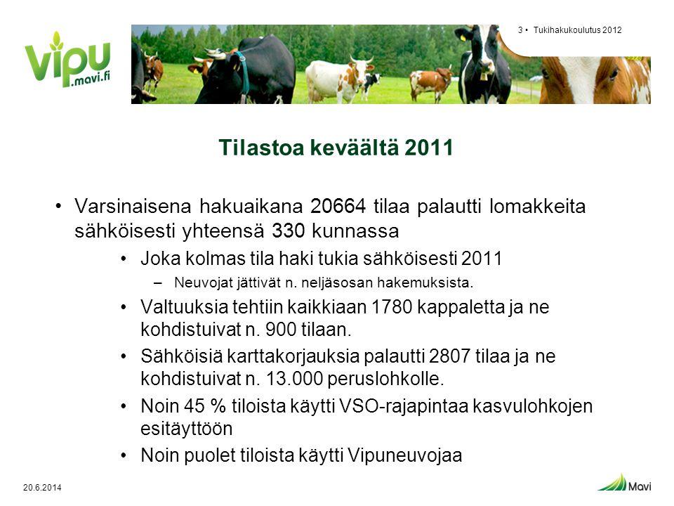 Tukihakukoulutus 2012 Tilastoa keväältä 2011. Varsinaisena hakuaikana 20664 tilaa palautti lomakkeita sähköisesti yhteensä 330 kunnassa.
