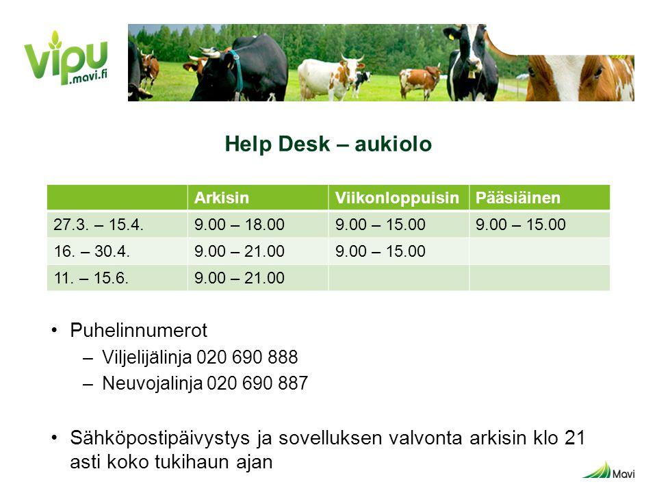 Help Desk – aukiolo Puhelinnumerot