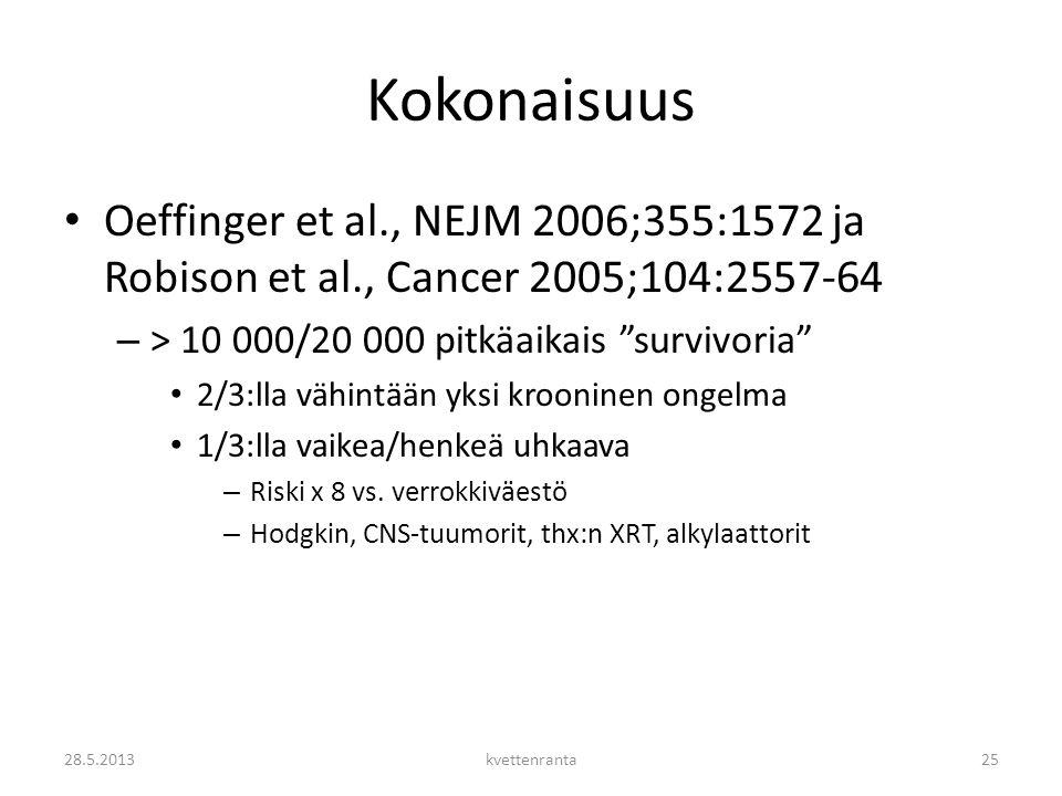 Kokonaisuus Oeffinger et al., NEJM 2006;355:1572 ja Robison et al., Cancer 2005;104:2557-64. > 10 000/20 000 pitkäaikais survivoria