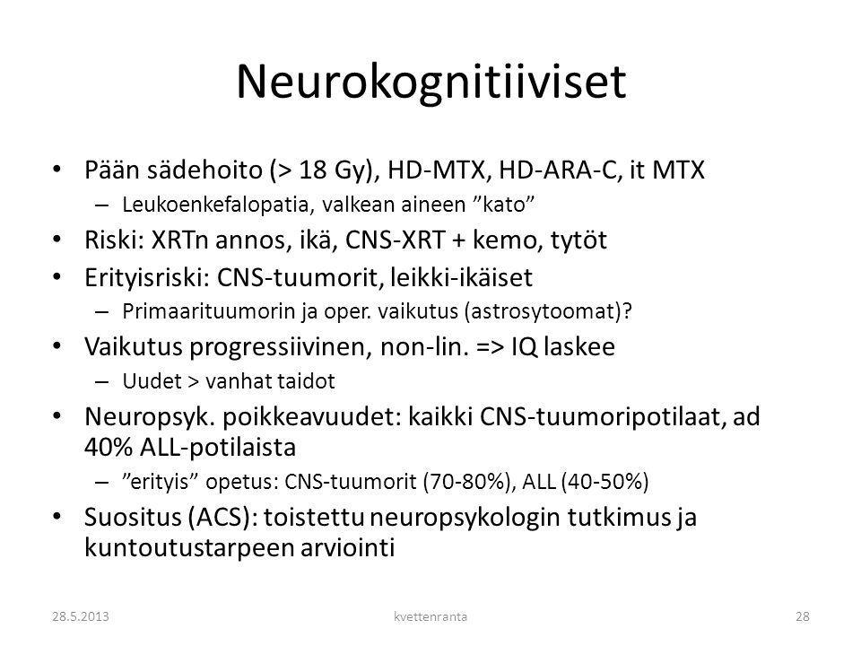 Neurokognitiiviset Pään sädehoito (> 18 Gy), HD-MTX, HD-ARA-C, it MTX. Leukoenkefalopatia, valkean aineen kato