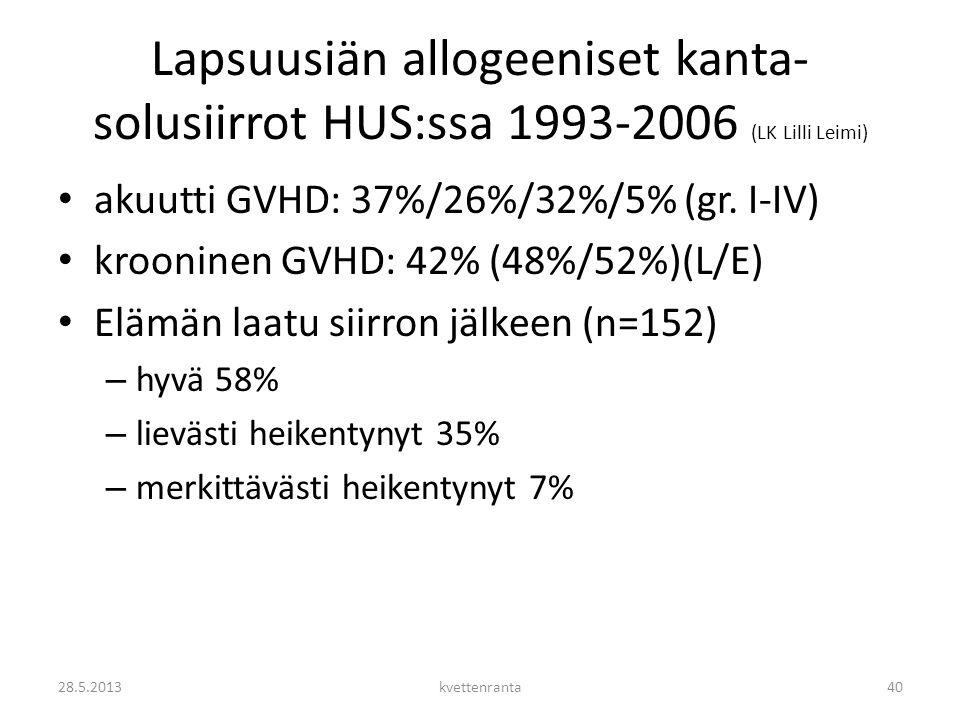 Lapsuusiän allogeeniset kanta-solusiirrot HUS:ssa 1993-2006 (LK Lilli Leimi)