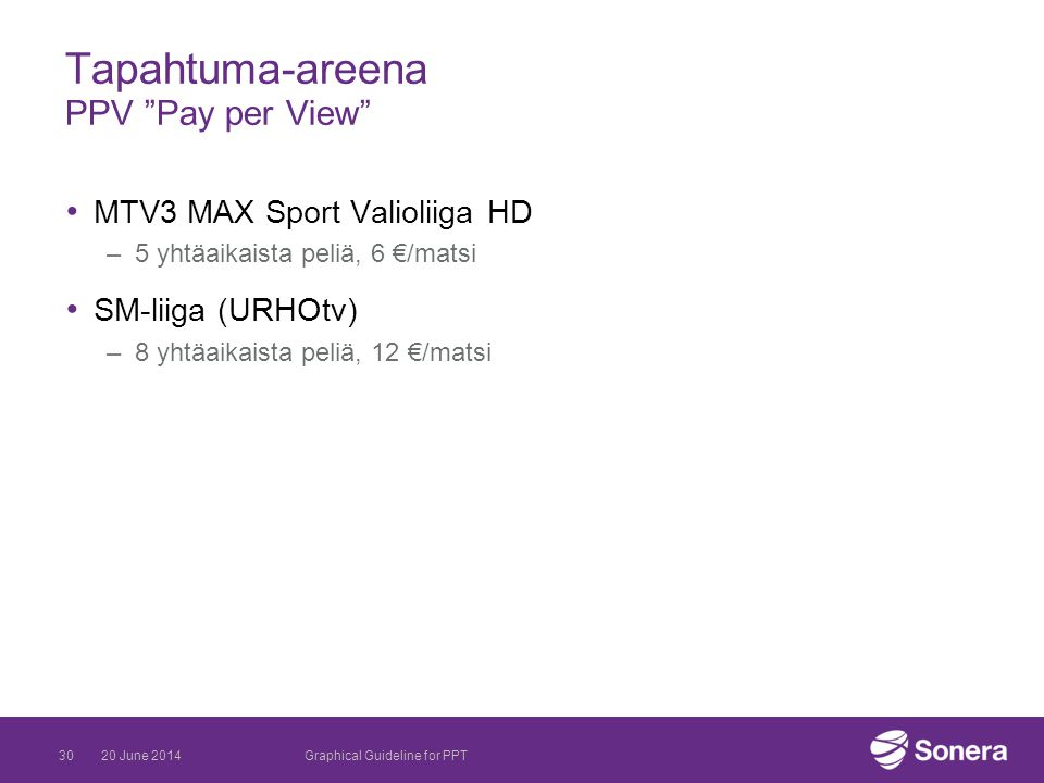 Tapahtuma-areena PPV Pay per View