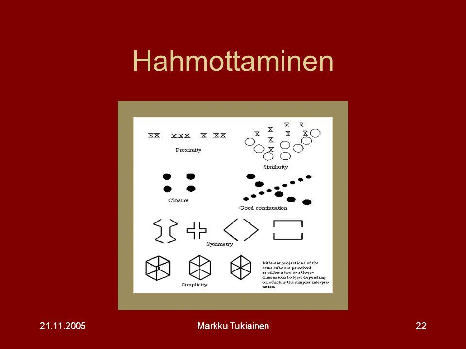 Hahmottaminen 21.11.2005 Markku Tukiainen