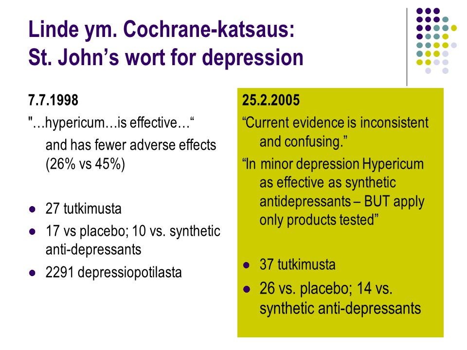 Linde ym. Cochrane-katsaus: St. John's wort for depression
