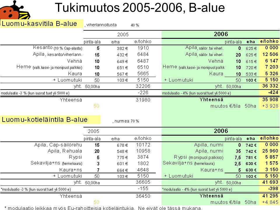Tukimuutos 2005-2006, B-alue