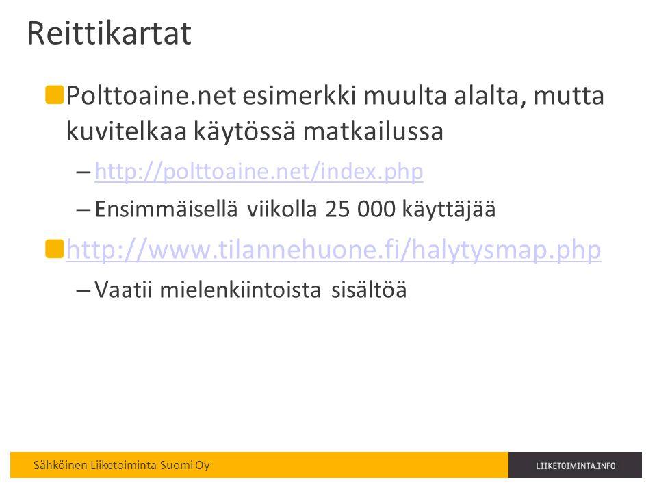 Reittikartat Polttoaine.net esimerkki muulta alalta, mutta kuvitelkaa käytössä matkailussa. http://polttoaine.net/index.php.
