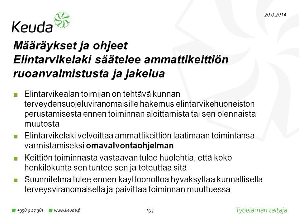 2.4.2017 Määräykset ja ohjeet Elintarvikelaki säätelee ammattikeittiön ruoanvalmistusta ja jakelua.