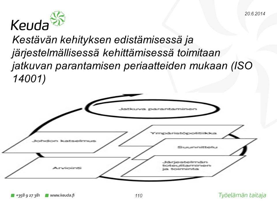 2.4.2017 Kestävän kehityksen edistämisessä ja järjestelmällisessä kehittämisessä toimitaan jatkuvan parantamisen periaatteiden mukaan (ISO 14001)