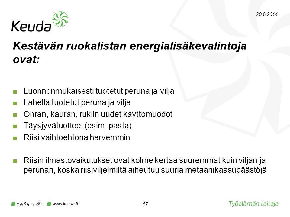 Kestävän ruokalistan energialisäkevalintoja ovat: