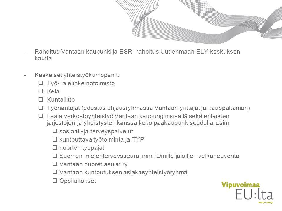 Rahoitus Vantaan kaupunki ja ESR- rahoitus Uudenmaan ELY-keskuksen kautta