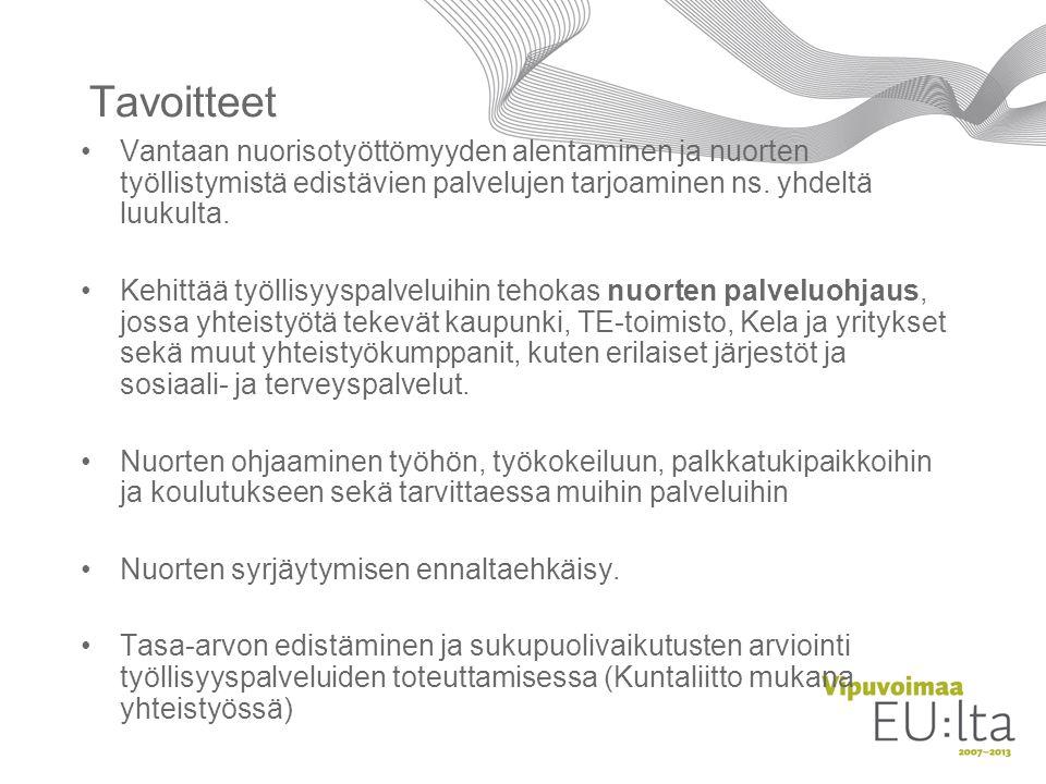 Tavoitteet Vantaan nuorisotyöttömyyden alentaminen ja nuorten työllistymistä edistävien palvelujen tarjoaminen ns. yhdeltä luukulta.