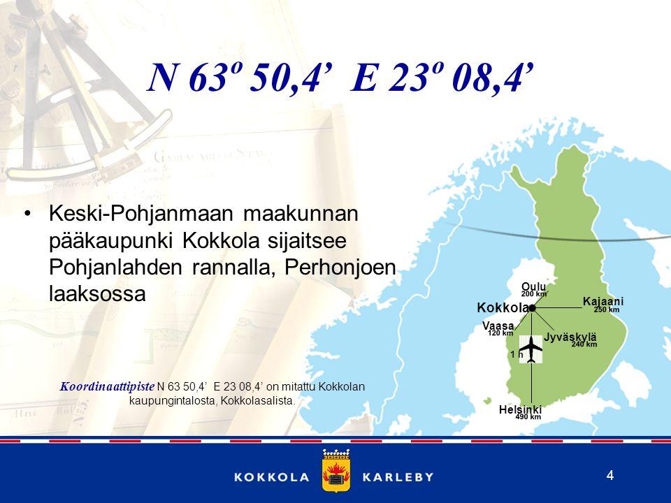 , , N 63 50,4 E 23 08,4. o. o. Keski-Pohjanmaan maakunnan pääkaupunki Kokkola sijaitsee Pohjanlahden rannalla, Perhonjoen laaksossa.