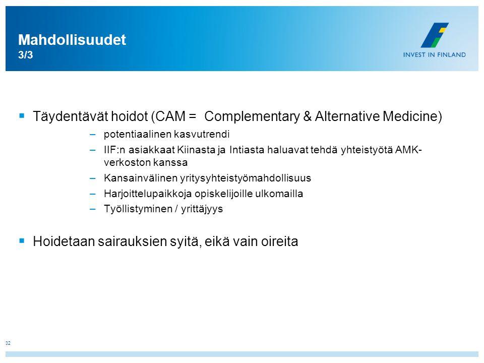 Mahdollisuudet 3/3 Täydentävät hoidot (CAM = Complementary & Alternative Medicine) potentiaalinen kasvutrendi.