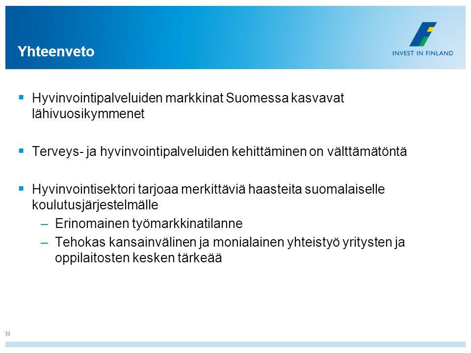 Yhteenveto Hyvinvointipalveluiden markkinat Suomessa kasvavat lähivuosikymmenet. Terveys- ja hyvinvointipalveluiden kehittäminen on välttämätöntä.