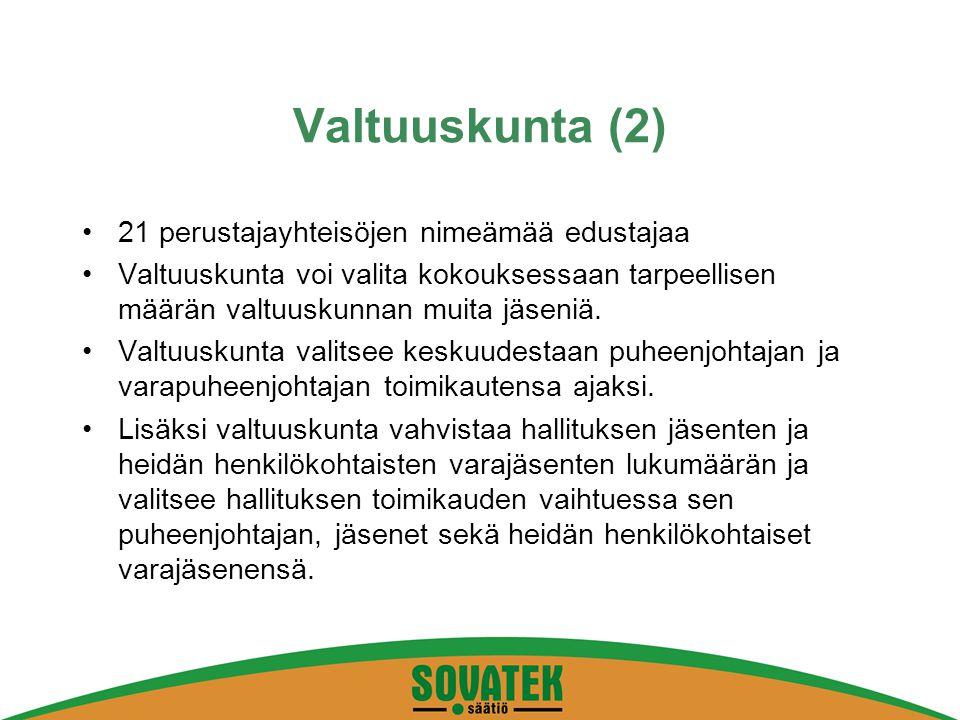 Valtuuskunta (2) 21 perustajayhteisöjen nimeämää edustajaa