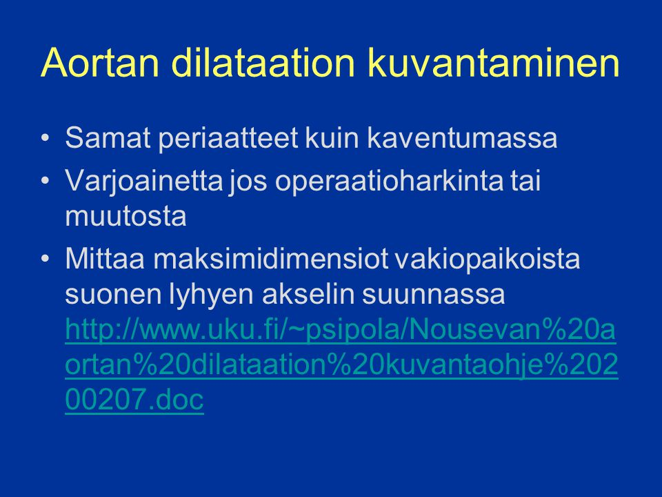 Aortan dilataation kuvantaminen