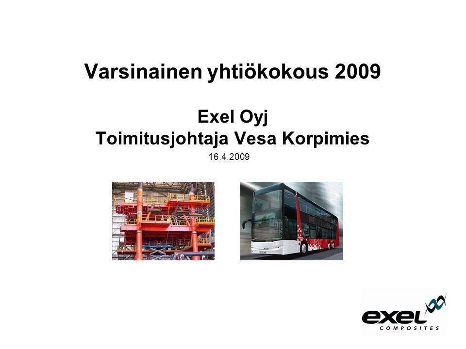 Varsinainen yhtiökokous 2009 Exel Oyj Toimitusjohtaja Vesa Korpimies