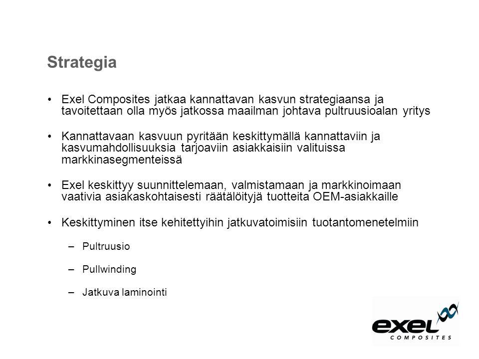 Strategia Exel Composites jatkaa kannattavan kasvun strategiaansa ja tavoitettaan olla myös jatkossa maailman johtava pultruusioalan yritys.