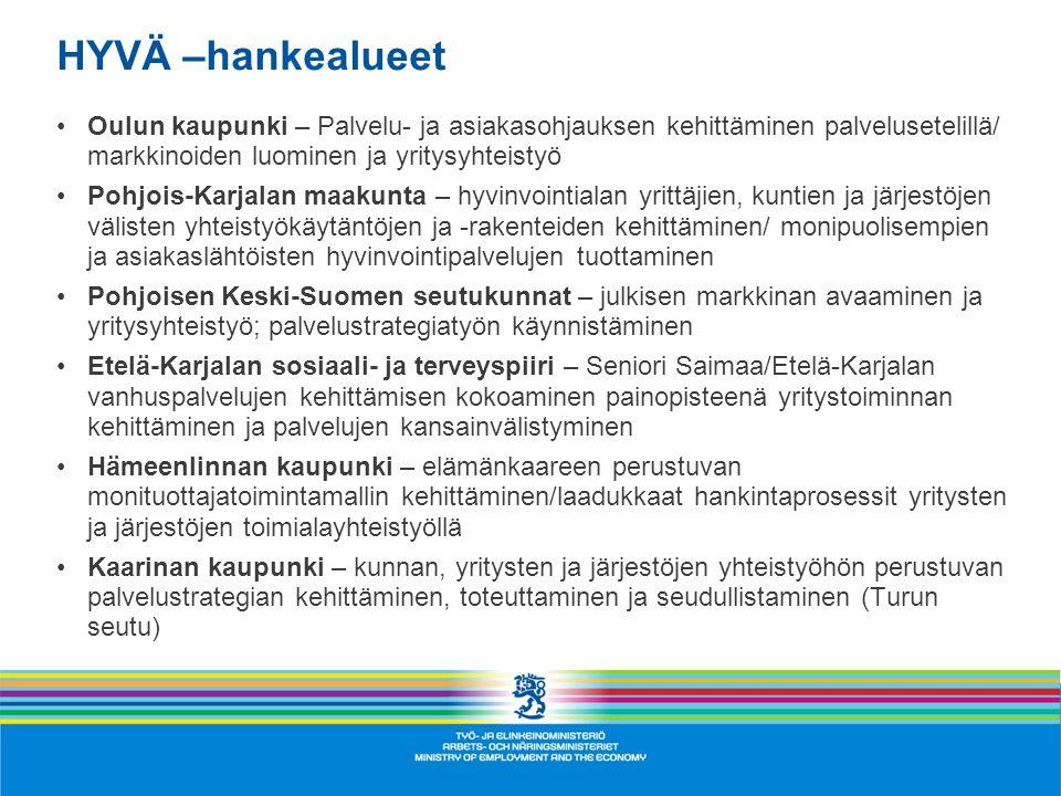 HYVÄ –hankealueet Oulun kaupunki – Palvelu- ja asiakasohjauksen kehittäminen palvelusetelillä/ markkinoiden luominen ja yritysyhteistyö.
