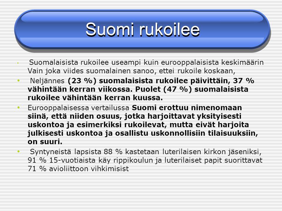 Suomi rukoilee Suomalaisista rukoilee useampi kuin eurooppalaisista keskimäärin Vain joka viides suomalainen sanoo, ettei rukoile koskaan,