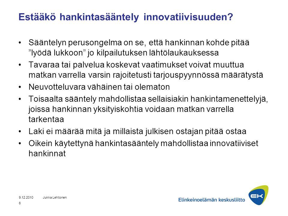 Estääkö hankintasääntely innovatiivisuuden