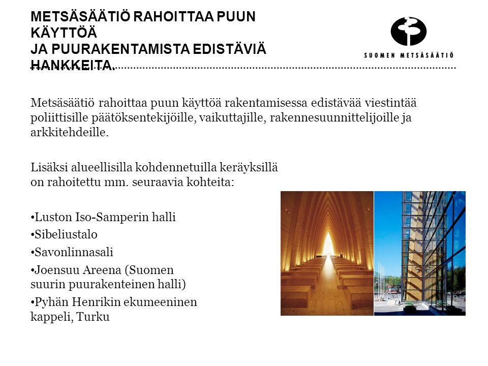 METSÄSÄÄTIÖ RAHOITTAA PUUN KÄYTTÖÄ JA PUURAKENTAMISTA EDISTÄVIÄ HANKKEITA.