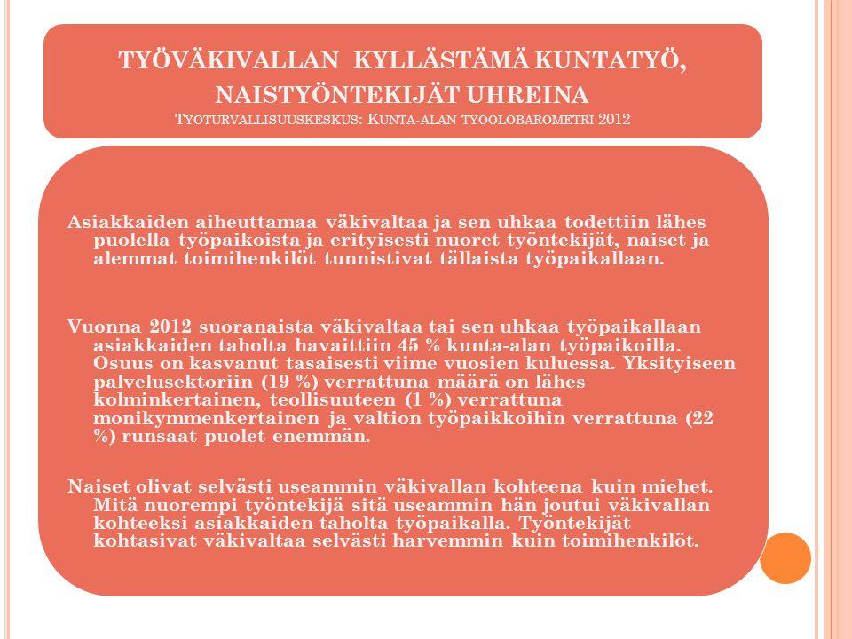 työväkivallan kyllästämä kuntatyö, naistyöntekijät uhreina Työturvallisuuskeskus: Kunta-alan työolobarometri 2012