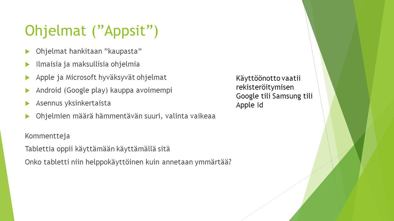 Ohjelmat ( Appsit ) Ohjelmat hankitaan kaupasta