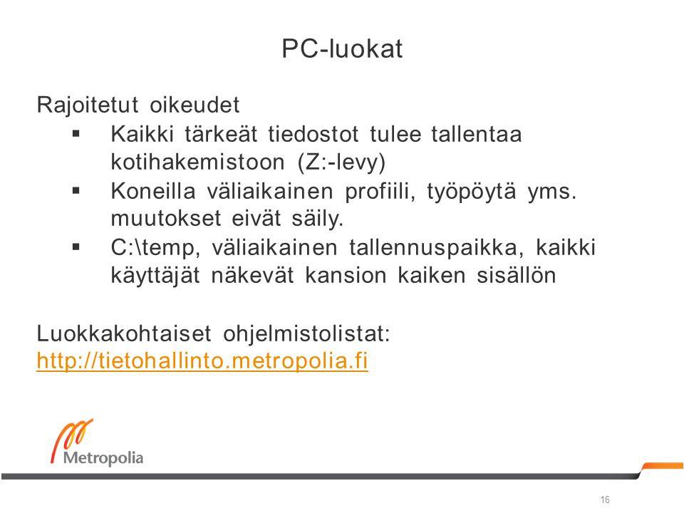 PC-luokat Rajoitetut oikeudet