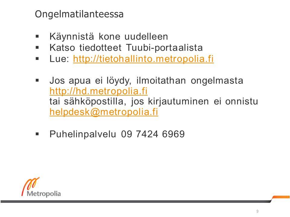 Ongelmatilanteessa Käynnistä kone uudelleen. Katso tiedotteet Tuubi-portaalista. Lue: http://tietohallinto.metropolia.fi.